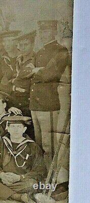 Original- CIVIL War Era Paddle Wheel Gun Boat Uss Monoracy Crew + Usmc Photo