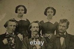 Original CIVIL War Era Siblings With 2 Pair Of Twins Ambrotype 1/4 Plate