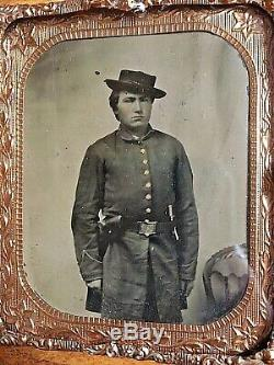 Original CIVIL War Union Soldier Double Armed 1/6 Plate Tintype In Case