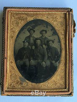 Original Civil War! /4 Plate Tintype Photo of 5 Soldiers