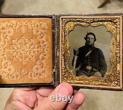 Original Civil War Photo Tintype of Armed Soldier WOW