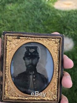 Original Civil War Soldiers/ Kepi 1/6th Plate Tin Type Photograph
