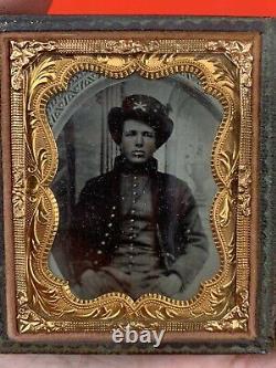 Original Civil War TinType Photo Union Officer Kepi Campaign Hat