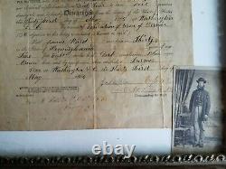 Original Discharge Paper For OHIO Civil War Soldier/VET James Ward with Photo