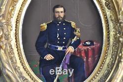 Original Pair of Civil War Painted Prints US General 19th C Photo Painting Sword