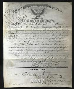 Original Velum Discharge Paper For Union Civil War Soldier with RPPC Photo Signed