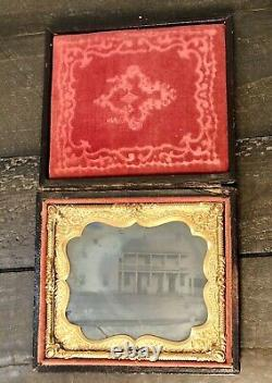 Outdoor Purple Glass Ambrotype of House or Hotel 1860s, Civil War Era