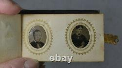 Period album photos 48 gem tintypes Civil War Era Men Women Children 1800s vg