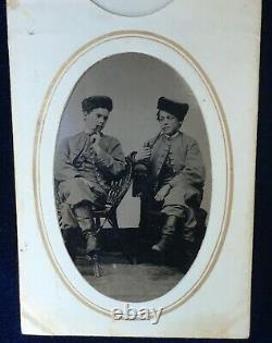 Photo Vermont cadets Civil War era 1860' sTin Type Scarce & historical Brandon