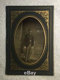 Post CIVIL War Federal Soldier & Rifle Tintype & Original Paper Frame Holder