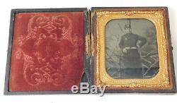 Post Civil War Union GAR Officer Antique Daguerreotype Photo Case Gold Frame