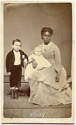 Pretty Black Nanny with White Baby & Small Boy 1860s Civil War Era CDV Photo
