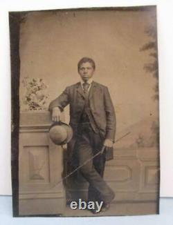 RARE African American Tintype pre Civil War Slave Owner with whip Dapper Photo