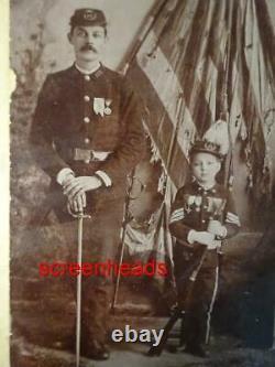 RARE CIVIL WAR VETERAN AND SON CABINET CARD PHOTO VG Crisp image CINCINNATI OHIO