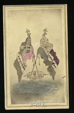 RARE Civil War Confederate Battle Flags CDV Fayetteville North Carolina 1860s