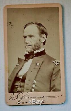 RARE Civil War signed photo of W. T. Sherman, on mount, post-war visa