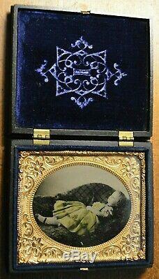 RARE Pair of Ferrotype / TinType Death Photos of Little Girl Civil War Era