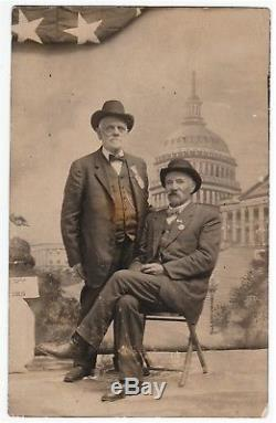 RARE Real Photo GAR Civil War Soldiers Veterans Capt C Cook 81st NY 1915 RPPC