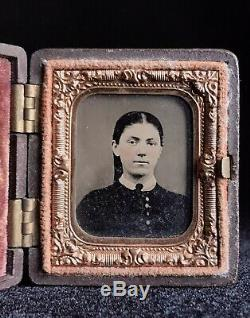 Rare 1/16 Plate Tintype CIVIL War Lady In Young Soldier Thermoplastic Case
