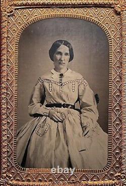 Rare 1/8 CDV Thermoplastic Union Case CIVIL War Lady In Mint Minus Condition