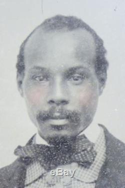 Rare AFRICAN AMERICAN AMBROTYPE 1/6th TINTED CHEEKS c1850s Civil War Era Photo