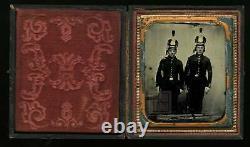Rare Ambrotype Civil War Era Soldiers Tinted, Armed Missouri 1860s Photo