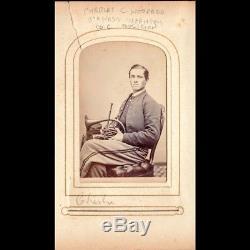 Rare Antique Victorian Civil War CDV ID'ed Musician With Heilcon Cornet Gettysburg