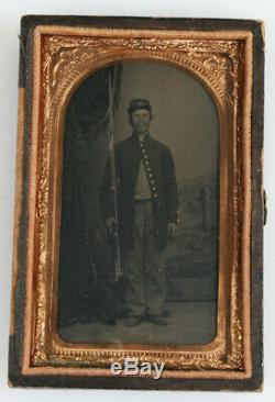 Rare Authentic Civil War 1/9th Tintype Soldier Armed with Rifle & Bayonet