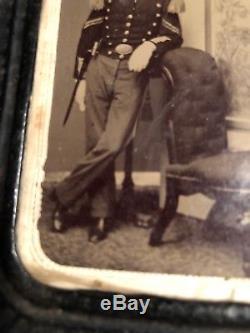 Rare CIVIL War Armed Union Soldier 6th New York Artillery Regiment Shako Tintype