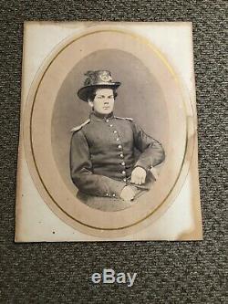 Rare CIVIL War Infantry Soldier Hardee Hat Epaulettes Uniform Albumen Photograph