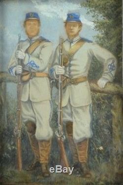 Rare Civil War Era Hand Painted Albumen Photo Confederate Infantrymen Framed