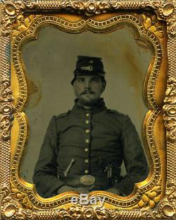 Rare Civil War Tintype of a Double Armed Ohio Soldier Wearing OVM Belt Plate