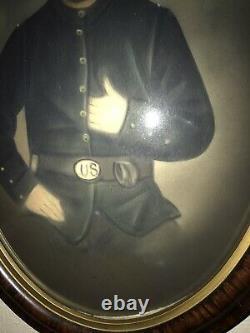 Rare Civil War Union Soldier Oval Bubble Framed Picture Antique 21x16