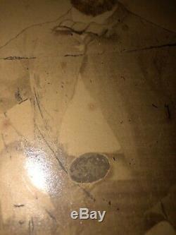 Rare Confederate Texas CIVIL War Soldier Star Belt Buckle Kepi Albumen CDV Image
