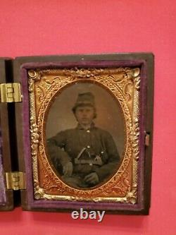 Rare Double Armed 9th Plate Tintype Of A Civil War Soldier