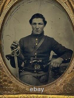 Rare Double Armed Civil War Tintype Photo Young Union Soldier Gun Patriotic WOW