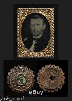 Rare General Grant Photos Tintype & Ferrotype Pin Civil War Soldier & Campaign