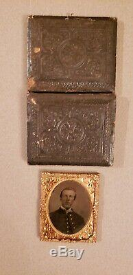 Rare Original CIVIL War 9th Plate Tintype Of Soldier With Nice Buttons
