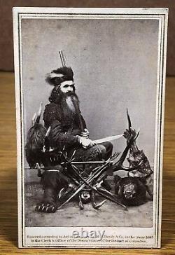 Rare Seth Kinman CDV by Brady Civil War Era Revenue Stamp Elk Horn Chair