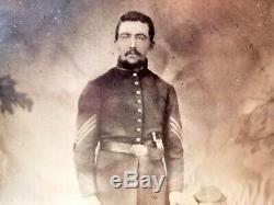 Rare U. S. Civil War, Union Army sergeant, pistol, full-plate tintype photo, old