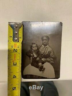 Rare Vintage Civil War Era Slave Negro Nanny Tin Type Photo Black Americana