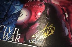 STAN LEE, CHRIS EVANS & DOWNEY Hand Signed 12X18 CIVIL WAR CANVAS PHOTO with PROOF