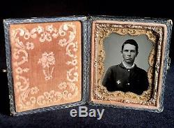 Sharp 1/9 Plate Tintype CIVIL War Soldier Wearing Corp Badge In Full Case