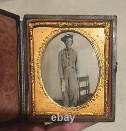 Sixth Plate Tintype Civil War Confederate Cavalryman