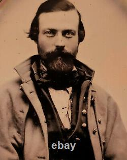 Sixth Plate Tintype of Civil War Soldier in Greatcoat Grouping (Eight Images)