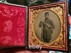 Sixth plate tintype of double armed civil war soldier in great condition