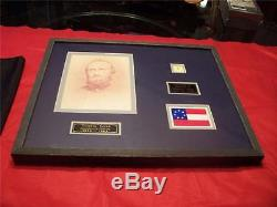 Stonewall Jackson Piece Of CIVIL War Scarf With 211 Of 300 Framed Rare! Coa