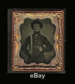 Superb Armed Confederate Civil War Soldier Huge Knife & Gun Antique 1860s Photo