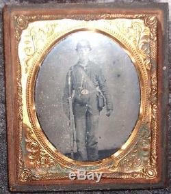 Tin Type Photo Of A CIVIL War Soldier With Rifle