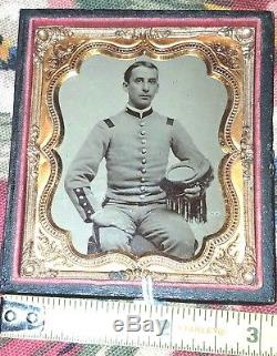 Tintype CIVIL WAR Militia Soldier in half 6 CASE